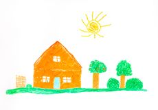 Child hand drawing. Orange house, fruit trees, green grass and s. Child felt pen hand drawing. Orange house, fruit trees, green grass and sun royalty free stock image