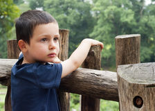 Child by fence Stock Image