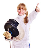 Child in fencing costume holding epee . Royalty Free Stock Photo