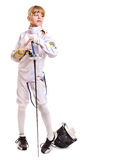 Child in fencing costume holding epee . Stock Photos