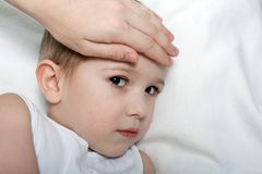 Child fever. Little illness child medicine flu fever healthcare Royalty Free Stock Images