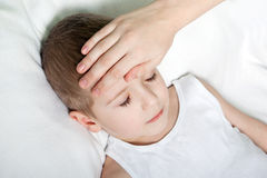 Child fever. Little illness child medicine flu fever healthcare Royalty Free Stock Photo