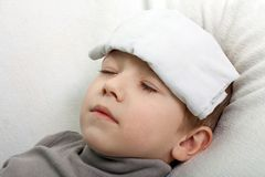 Child fever. Little illness child medicine flu fever healthcare Stock Photo