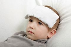 Child fever. Little illness child medicine flu fever healthcare Royalty Free Stock Image