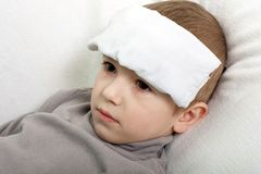 Child fever. Little illness child medicine flu fever healthcare Royalty Free Stock Photography