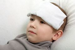 Child fever. Little illness child medicine flu fever healthcare Stock Images
