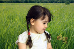 Child on the field. Pretty girl on the green grass Stock Photo
