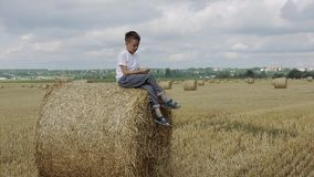Child On A Field Against Straw stock footage
