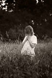 Child in the fields - BW Royalty Free Stock Photos