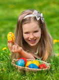 Child find easter egg outdoor Royalty Free Stock Photography