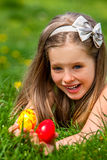 Child find easter egg outdoor Royalty Free Stock Photo