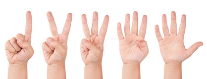 Child finger numbers Stock Photo