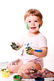 Child Finger Painting Stock Image
