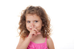 Child finger to lips. Child with secret finger to lips for quiet Royalty Free Stock Photos