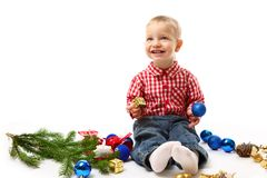 Child with fir branch Royalty Free Stock Photo