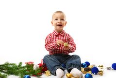 Child with fir branch royalty free stock photos