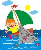 Child  fisherman Stock Photo