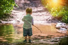 Little boy toddler fishing in forest royalty free stock image