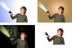 Child with a flashlight Royalty Free Stock Photo