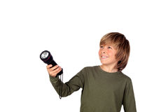 Child with a flashlight looking for something Royalty Free Stock Image