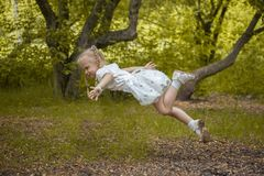 the child flies in a dream. the little royalty free stock photography