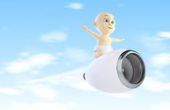 Child flies to the engine from the airplane Stock Photo