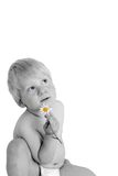 The child and a flower. The child holds a camomile in a hand stock image