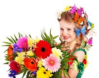 Child with flower and butterfly. Royalty Free Stock Photo