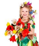 Child with flower and butterfly. Stock Image