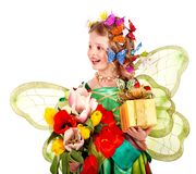 Child with flower and butterfly. Stock Photography