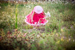 Child in a flower field Stock Images