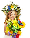 Child with flower hairstyle. Stock Photography