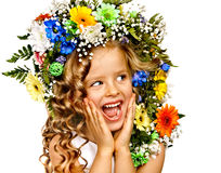 Child with flower hairstyle. Royalty Free Stock Photos
