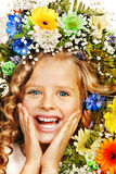 Child with flower. Isolated Royalty Free Stock Photo