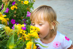 Child with flower portrait Stock Image