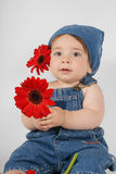 Child with Flowers Royalty Free Stock Images