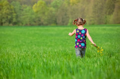 Child with flowers bouquet on green spring field, kid having fun Royalty Free Stock Images