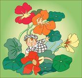 CHILD AMONG FLOWERS. Color image of a little boy in a checkered suit against a background of flowers Stock Image