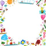 Child flowers frame - scribbles drawings background isolated Stock Images