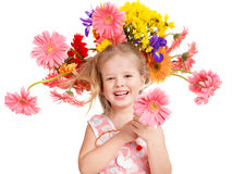 Child with  with flowers on her  hair. Royalty Free Stock Image