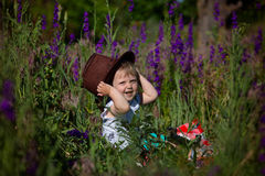 Child and Flowers Stock Photo