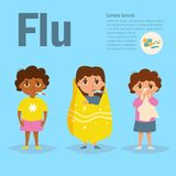 Child flu Vector. Cartoon. Isolated. Art on blue background. Flat Royalty Free Stock Photo