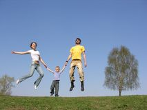 Child with fly parents Royalty Free Stock Photography