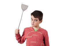Child with fly swatter Royalty Free Stock Images
