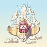 Child Is Flying An Airplane. Child is flying in an airplane through the clouds stock illustration