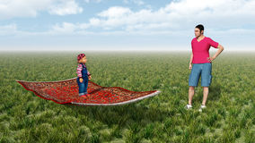 Child on flying carpet and man. Computer generated 3D illustration with child on flying carpet and man Royalty Free Stock Images