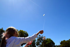 Child flying kite happy childhood concept Royalty Free Stock Photo