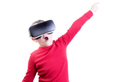 Child flying with virtual reality headset on Royalty Free Stock Photo