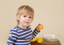 Child with Food, Nutrition concept Royalty Free Stock Images