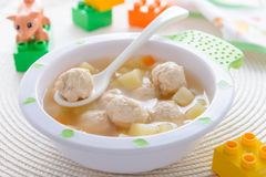 Child food: soup with potatoes and turkey meatballs Stock Photo
